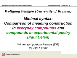 Wolfgang Wildgen (Universität Bremen) Minimal