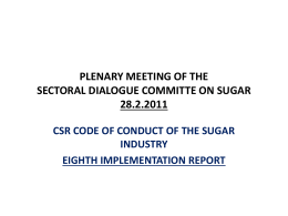 PLENARY MEETING OF THE SECTORAL DIALOGUE COMMITTE