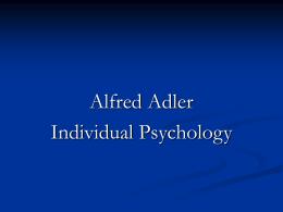 Alfred Adler: Individual Psychology