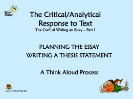 The Critical/Analytical Response to Text A Think