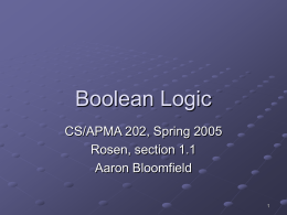 Boolean logic - University of Virginia