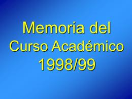 Memoria del Curso Académico 1998/99