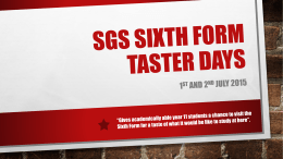 SGS Sixth form taster days