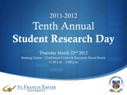 2011-2012 10th Annual Student Research Day