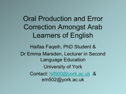 Oral Production and Error Correction Amongst Arab
