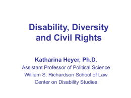 Disability, Diversity and Civil Rights
