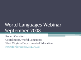 World Languages Webinar Spring 2008