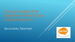 MLTAQ Awards for exemplary practice in languages