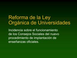La reforma de la Ley Orgánica de Universidades