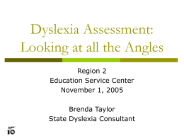 Dyslexia Assessment: Looking at all the Angles -