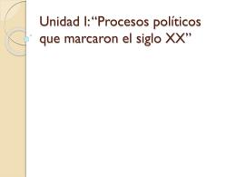 """Unidad I: """"Procesos políticos que marcaron el"""