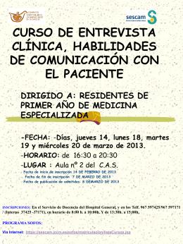 CURSO DE ENTREVISTA CLÍNICA Y COMUNICACIÓN