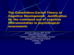 The Cattell-Horn-Carroll Theory of Cognitive