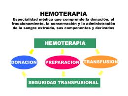HEMOTERAPIA Especialidad médica que comprende la
