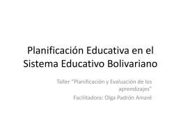 Planificación Educativa en el Sistema Educativo