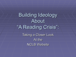 "Building Ideology About ""A Reading Crisis:"""
