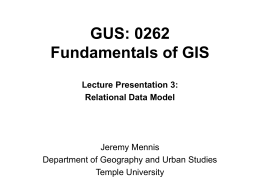GUS: 0262 Fundamentals of GIS