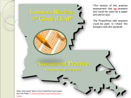 Louisiana Reading 3rd Grade iLEAP Assessment Guide