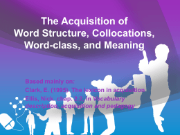 Chap. 2.2: word structure, collocations,