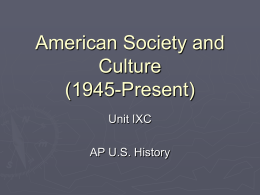 American Society and Culture (1945