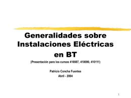 Generalidades sobre Instalaciones Eléctricas en BT