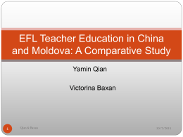 EFL Teacher Education in China and Moldova: A