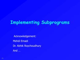 Ch. 9: Subprogram Linkage