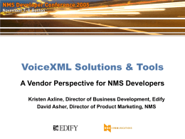 VoiceXML Solutions & Tools