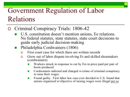 Government Regulation of Labor Relations