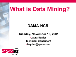 What is Data Mining? - DAMA