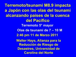 Terremoto/tsunami M8.9 impacta a Japón con las
