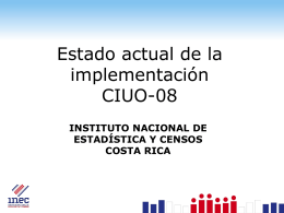 Estado actual de la implementación CIUO-08