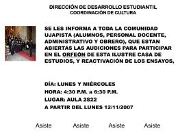 DIRECCIÓN DE DESARROLLO ESTUDIANTIL COORDINACIÓN