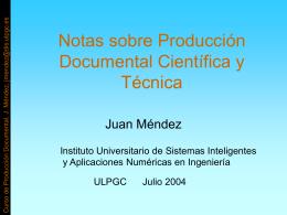 Notas sobre Producción Documental Científica y