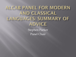 ALCAB Panel for Modern And Classical Languages: