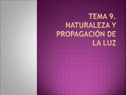 TEMA 9. NATURALEZA Y PROPAGACIÓN DE LA LUZ