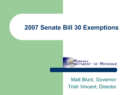 2007 Senate Bill 30 Exemptions
