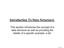 Introduction to Data Structures: Lists