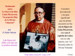 Testimonio mío sobre Luisa Piccarreta