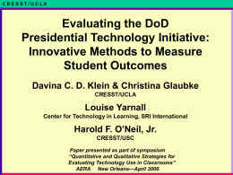 Evaluating the DoD Presidential Technology