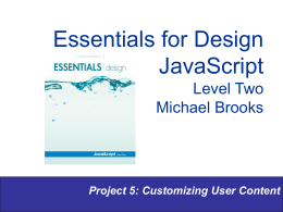 Essentials for Design JavaScript Level Two Michael