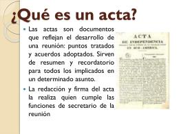 ¿Qué es un acta? - MANUAL DE LA SECRETARIA MODERNA