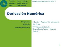 Derivación Numérica