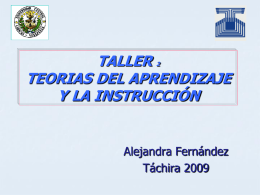 TALLER TEORIAS DEL APRENDIZAJE Y LA INSTRUCCIÓN