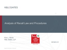 Analysis of Recall Law and Procedures