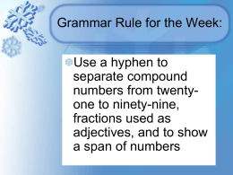 Grammar Rule for the Week:
