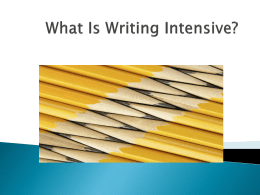Writing Intensive: What does it mean and how do I