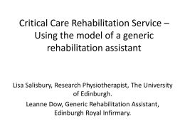 Rehabilitation after critical illness: The RECOVER