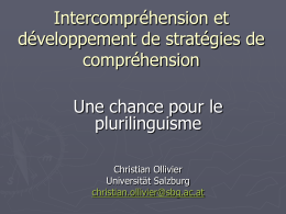 L´intercompréhension Une chance pour le