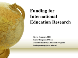Funding for International Education Research